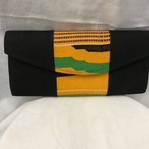 Hand made clutch with woven kente cloth